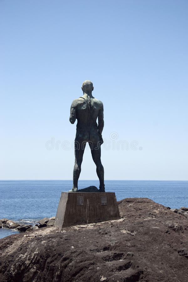 Statue at harbor of Paul do Mar stock images