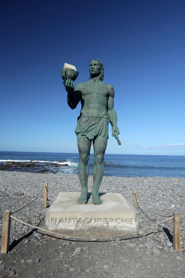 Statue of Hautacuperche. Guanche King, in La Puntilla, Valle Gran Rey, La Gomera Island, Canary Islands, Spain. Hautacuperche was a guanche warrior who led an royalty free stock photography