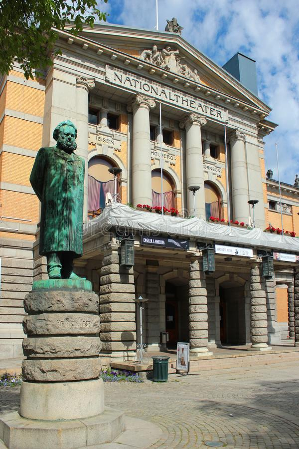 Statue of Henrik Ibsen in Oslo, Norway. Oslo, Norway - June 26, 2018: Statue of Henrik Ibsen in front of the Oslo`s National Theater. Norway`s main arena for royalty free stock photography