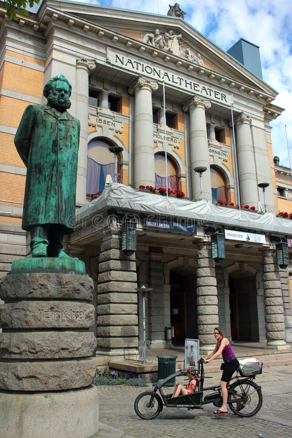 Statue of Henrik Ibsen in Oslo, Norway. Oslo, Norway - June 26, 2018: Statue of Henrik Ibsen in front of the Oslo`s National Theater. Norway`s main arena for royalty free stock photo