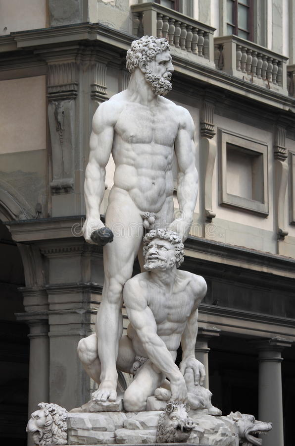 Statue of Hercules and Caucus. Statue of Hercules and Cacus located in Piazza della Signoria in Florence, Italy. It was carved by Baccio Bandinelli in 1530 royalty free stock image