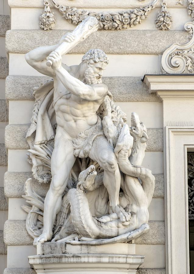 Statue of Hercules slaying the Lernaean Hydra, Hofburg Palace, Vienna, Austria. Pictured is a marble satue of Hercules slaying the Lernaean Hydra, Hofburg Palace stock images