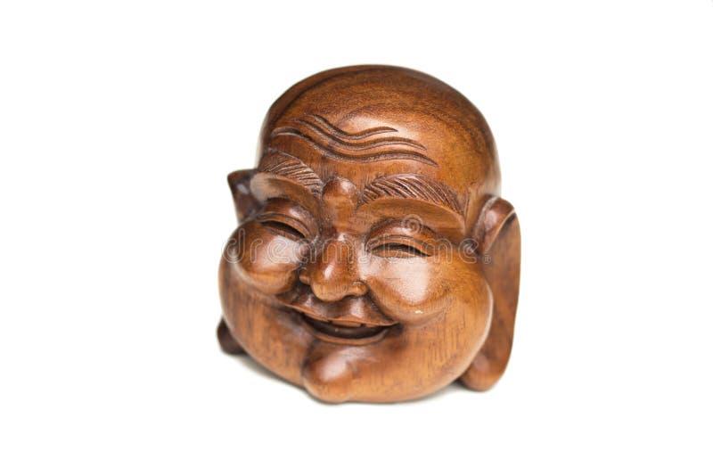 Statue heureuse en bois de tête de Bouddha Souvenir d'Indonésie, Southe photo stock
