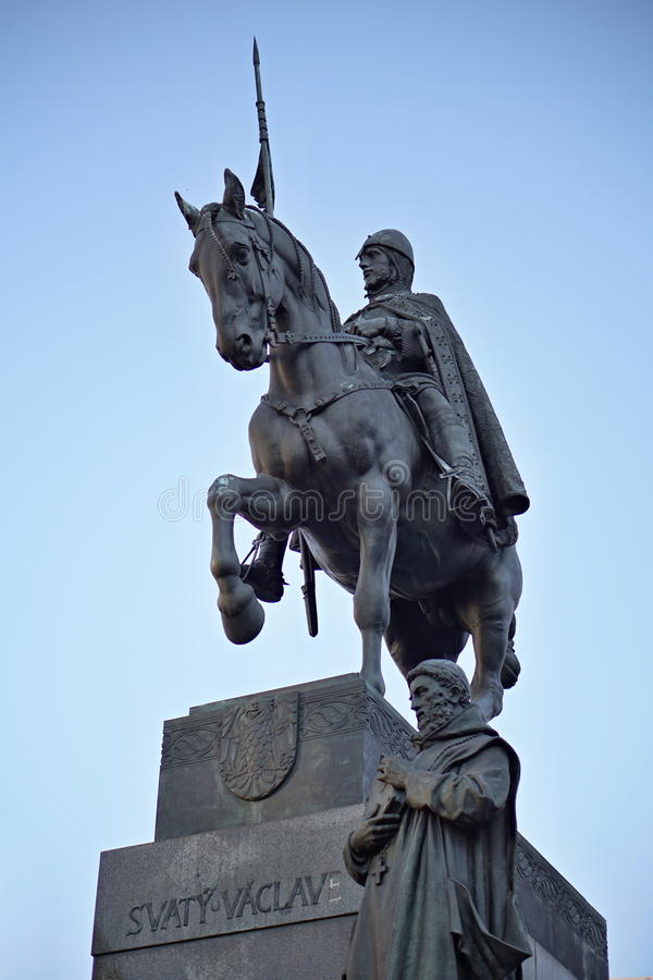 Statue of the historical Czech Saint Vaclav sitting on the armored horse at the top of the Vaclavske Namesti. (Wenceslas square) as a main symbol of Czech stock images
