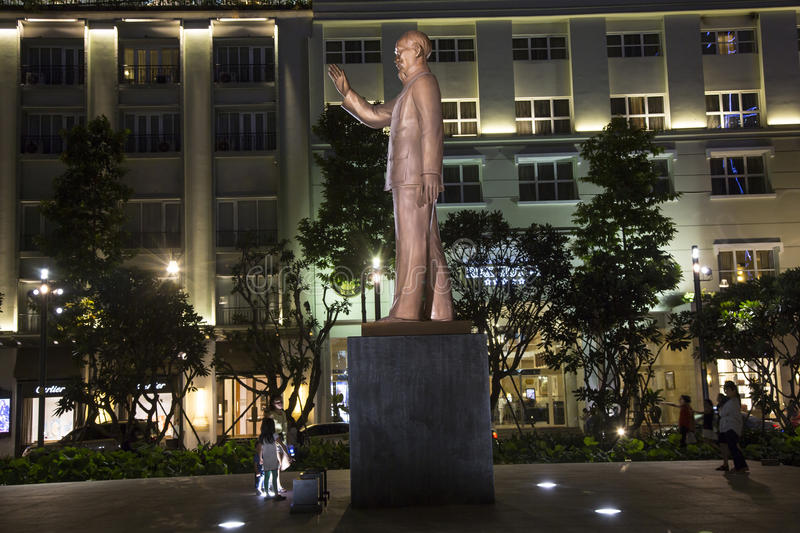 Statue of Ho Chi Minh in centre of HCM city. Night view of statue of Ho Chi Minh in centre of HCM city, Vietnam stock photo