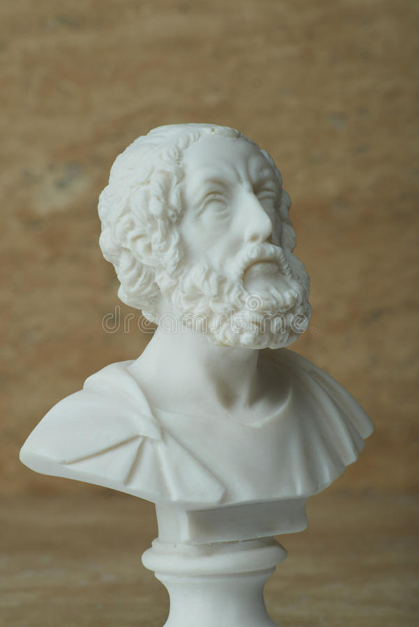 Statue of Homer,ancient greek poet. royalty free stock image