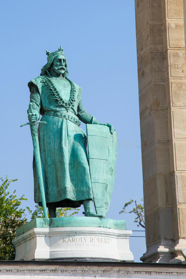 Statue of Hungarian King Charles I in Budapest, Hungary stock image