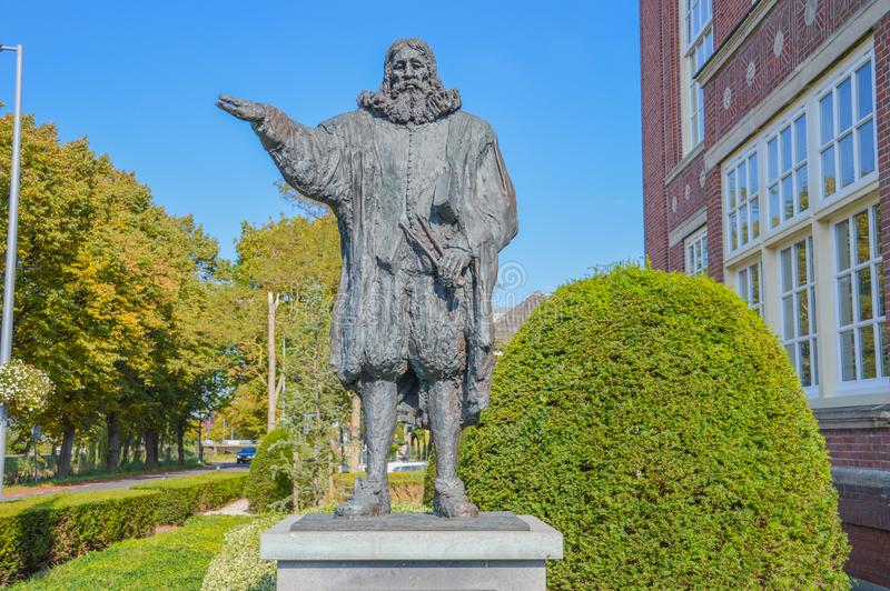 Statue Of Hydraulic Engineer Leeghwater At Hoofddorp The Netherlands.  stock image