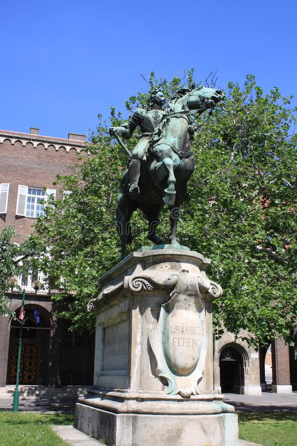 Statue of II Rakoczi Ferenc in Szeged, Hungary, Csongrad region stock photo