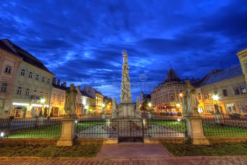 Statue of Immaculata in Kosice, Slovakia, HDR. Statue of Immaculata in Kosice by night, Slovakia, HDR royalty free stock images