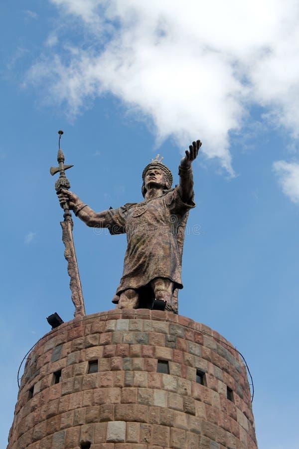 Statue of Incan Pachacutec in Cusco Peru. Statue of Incan warrior Pachacutec in Cusco Peru royalty free stock photos