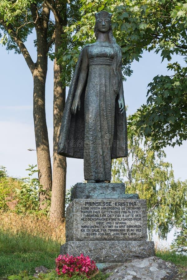 Statue of Infanta Christina, Tonsberg - Norway. Tonsberg, Norway - July 24, 2016: Statue of Infanta Christina made by artist Brit Sorensen in Covarrubias, Spain stock images