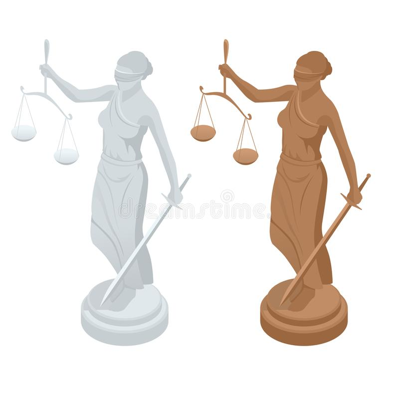 Statue isométrique d'un dieu de justice Themis ou Femida avec les échelles et l'épée Symbole de loi et de justice Vecteur plat d' illustration de vecteur