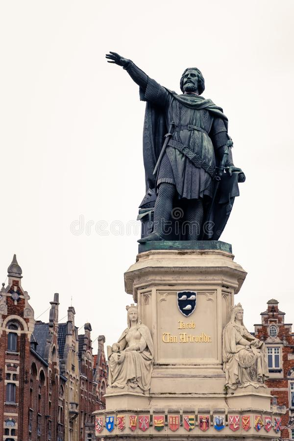 Statue of Jacob Van Artevelde on the Friday Market square in Ghent, Belgium. Low-angle view on the Jacob Van Artevelde statue located on the Friday Market square stock image