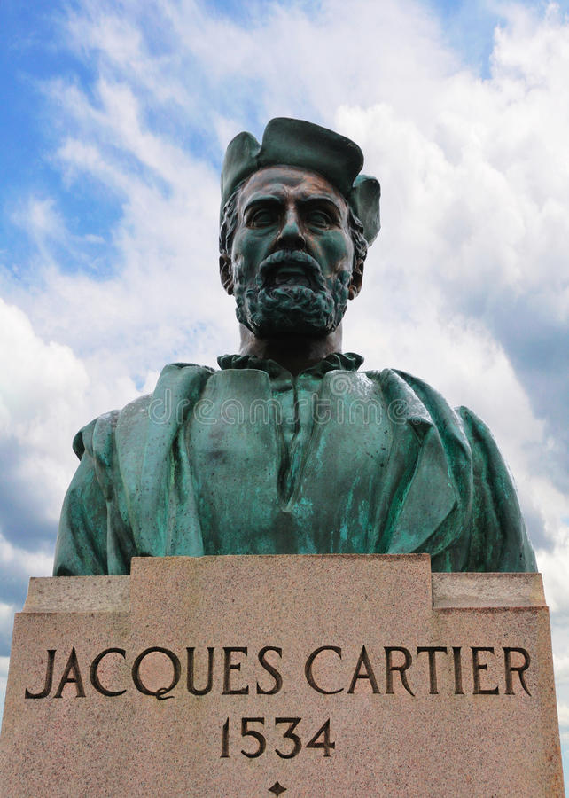 Statue of Jacques Cartier. On Jacques-Cartier bridge in Montreal stock photo