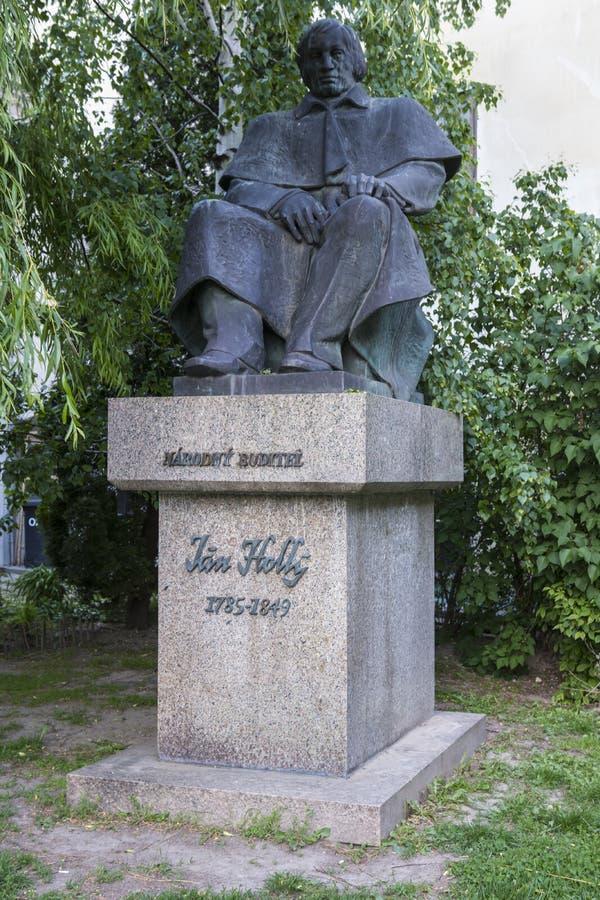 The statue of Jan Holly in Bratislava, Slovakia. The Statue of Ján Holly 1785-1849; Slovak poet and translator royalty free stock photo