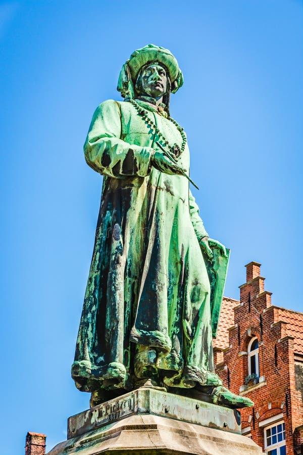 The Statue of Jan Van Eyck in Bruges, Belgium stock photos