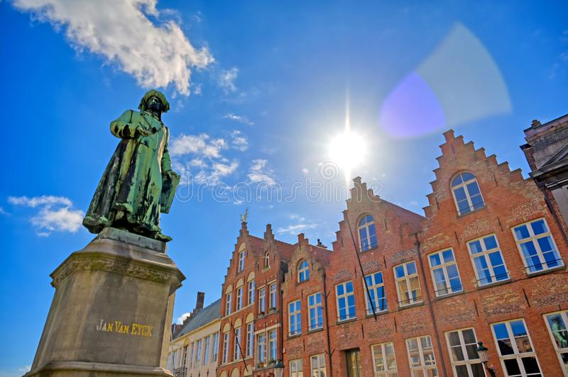 The Statue of Jan Van Eyck located in Bruges Brugge, Belgium royalty free stock images