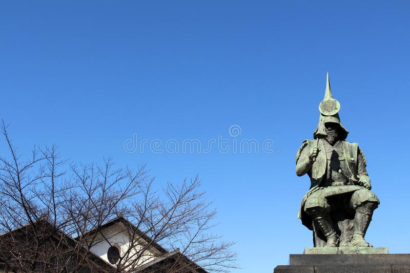 The statue of a Japanese Warrior ? at one park close to Nagoya. Castle. Taken in Nagoya, Japan - February 2018 royalty free stock image