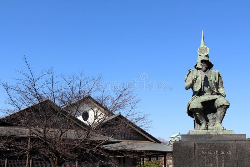 The statue of a Japanese Warrior ? at one park close to Nagoya. Castle. Taken in Nagoya, Japan - February 2018 royalty free stock images