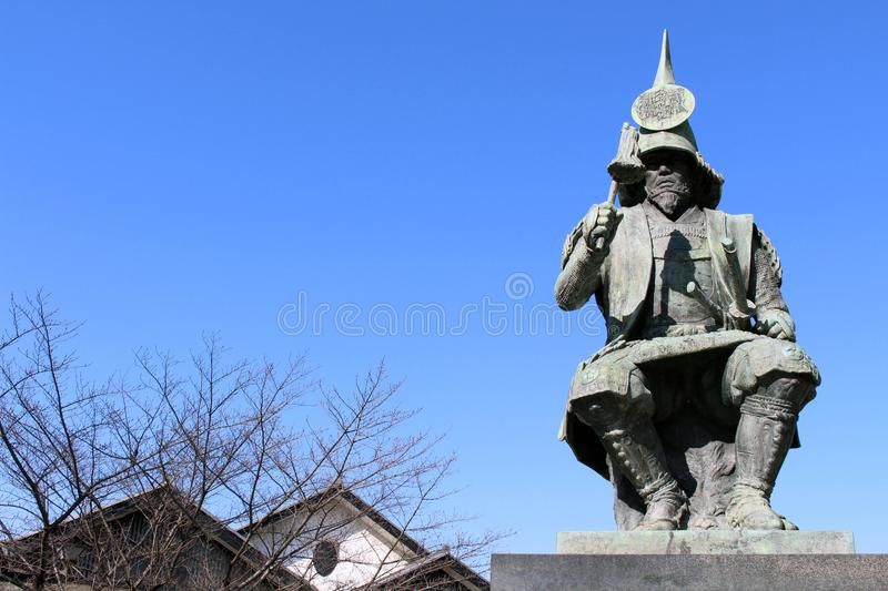 The statue of a Japanese Warrior ? at one park close to Nagoya. Castle. Taken in Nagoya, Japan - February 2018 stock image
