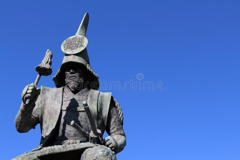 The statue of a Japanese Warrior ? at one park close to Nagoya. Castle. Taken in Nagoya, Japan - February 2018 stock photos