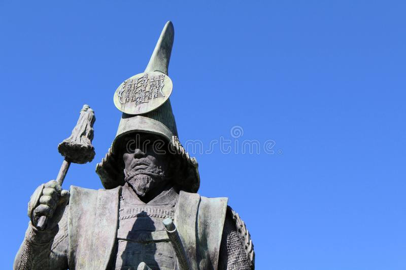 The statue of a Japanese Warrior ? at one park close to Nagoya. Castle. Taken in Nagoya, Japan - February 2018 royalty free stock photo