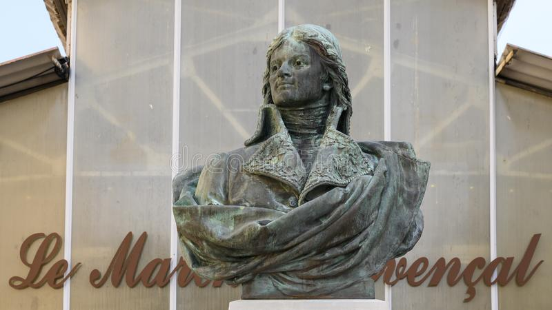 Statue of Jean-Etienne Championnet at Le Marche Provencal in the town of Antibes on the French Riviera. Pictured is a closeup view of the bronze bust of Jean royalty free stock photography