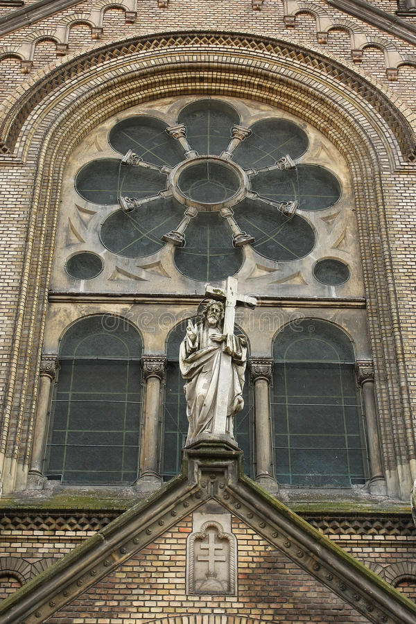 Statue of Jesus on a cathedral stock image