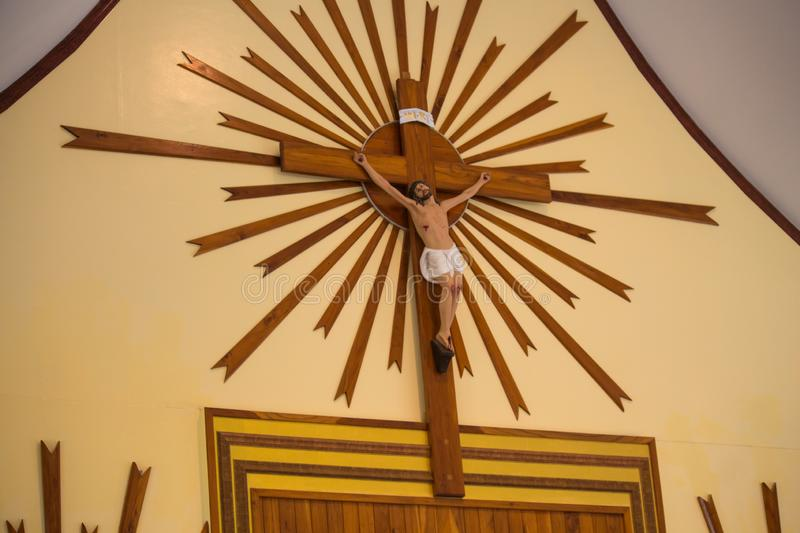 Statue of Jesus Christ crucified in Thailand stock photography