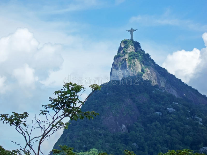 Statue of Jesus Christ in Rio de Janeiro. A view of Christ the Redeemer from the Mirante Dona Marta peak in Rio de Janeiro, Brazil royalty free stock photos