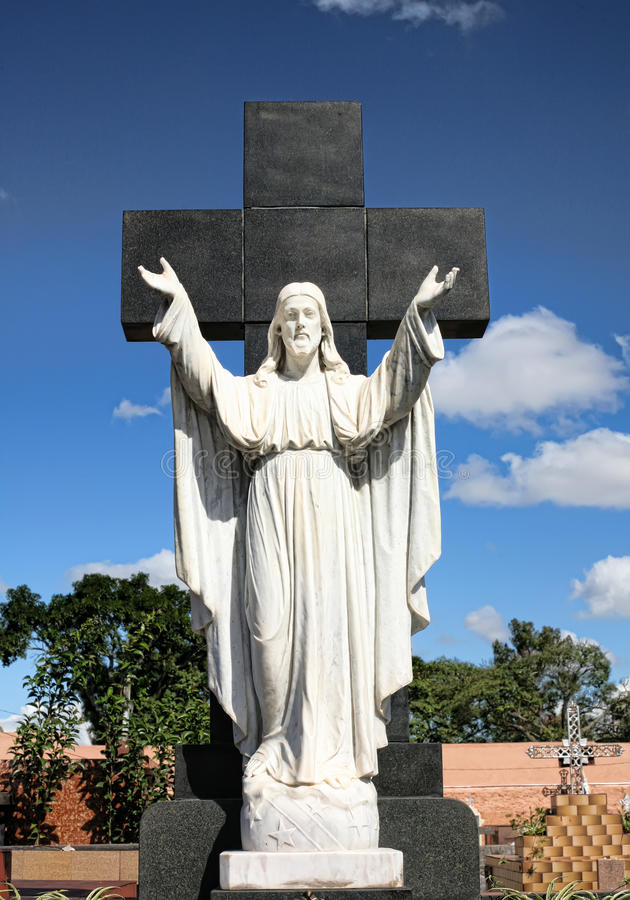 Statue Of Jesus With Hands Raised Royalty Free Stock Photo
