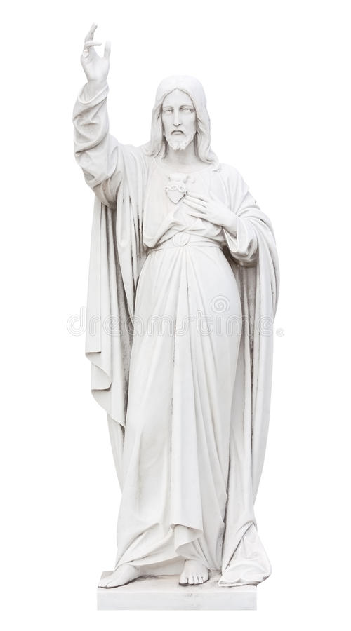 Statue Of Jesus  Isolated On White Royalty Free Stock Photos