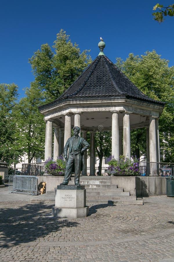 Statue of Johan Halvorsen stock photography