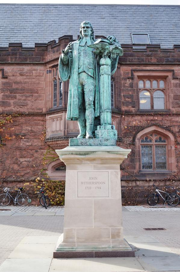 Statue of John Witherspoon (1723-1794) on the c. PRINCETON, NJ -13 OCTOBER 2015- Statue of John Witherspoon (1723-1794), one of the Founding Fathers of the royalty free stock photography
