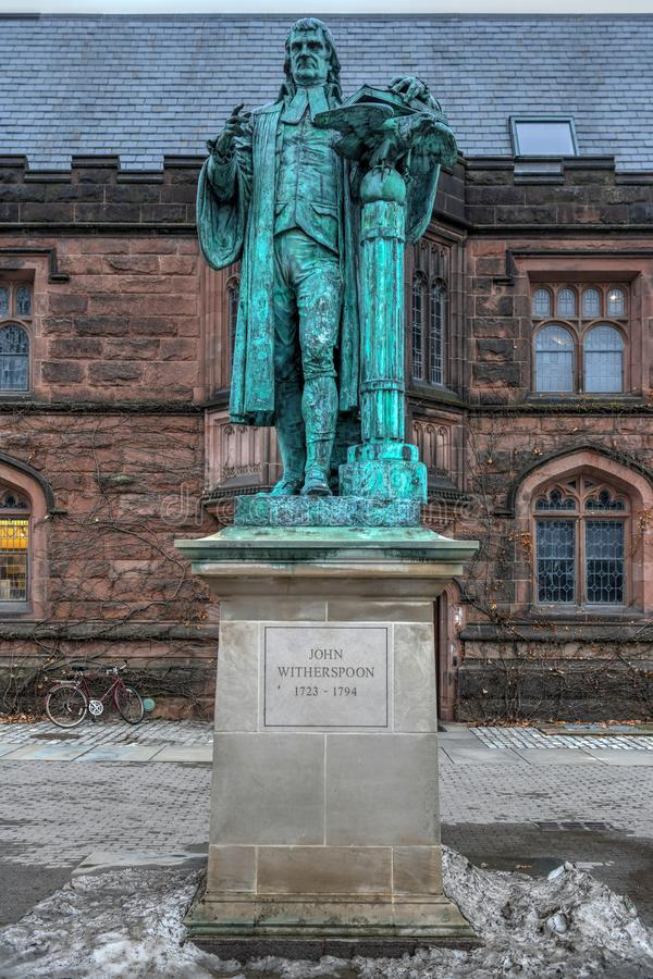 Statue of John Witherspoon - Princeton, New Jersey. Statue of John Witherspoon 1723-1794, one of the Founding Fathers of the United States, on the campus of stock photo