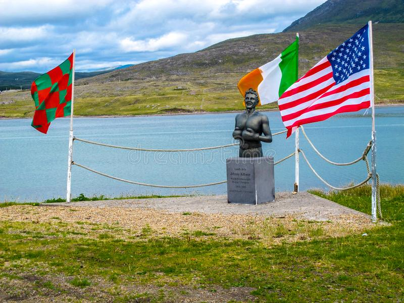 Statue of Johnny Kilbane, World Featherweight Champion. This is photograph of a statue of Johnny Kilbane, World Featherweight Champion in Achill Island. His stock image