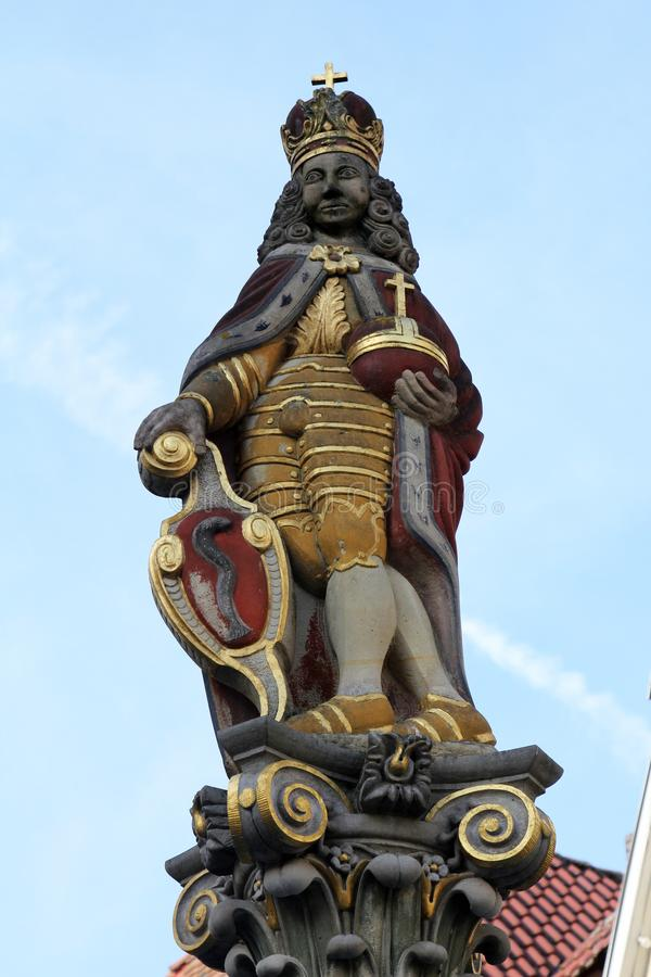 Statue Josephs I am Marktbrunnen in Aalen, Deutschland lizenzfreie stockfotos