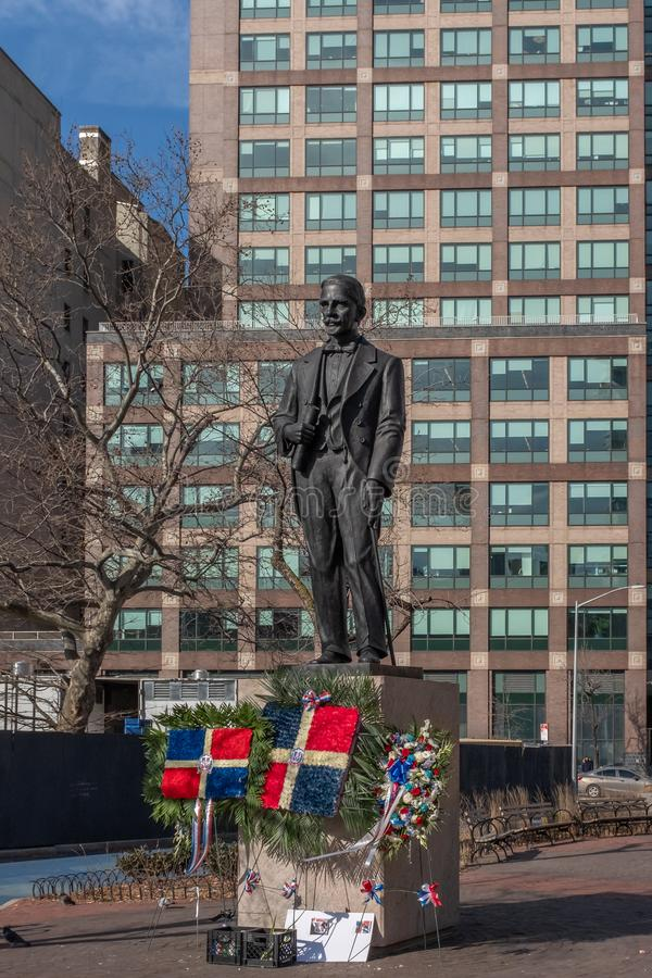 Statue of Juan Pablo Duarte. New York City, USA - Feb. 28, 2019: Statue of Juan Pablo Duarte, one of the founding fathers of the Dominican Republic, at Duarte stock photography