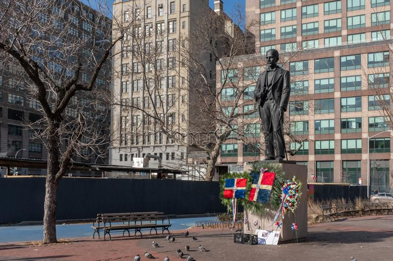 Statue of Juan Pablo Duarte. New York City, USA - Feb. 28, 2019: Statue of Juan Pablo Duarte, one of the founding fathers of the Dominican Republic, at Duarte royalty free stock photography