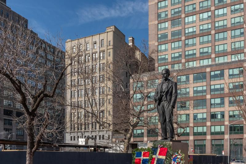 Statue of Juan Pablo Duarte. New York City, USA - Feb. 28, 2019: Statue of Juan Pablo Duarte, one of the founding fathers of the Dominican Republic, at Duarte royalty free stock photo