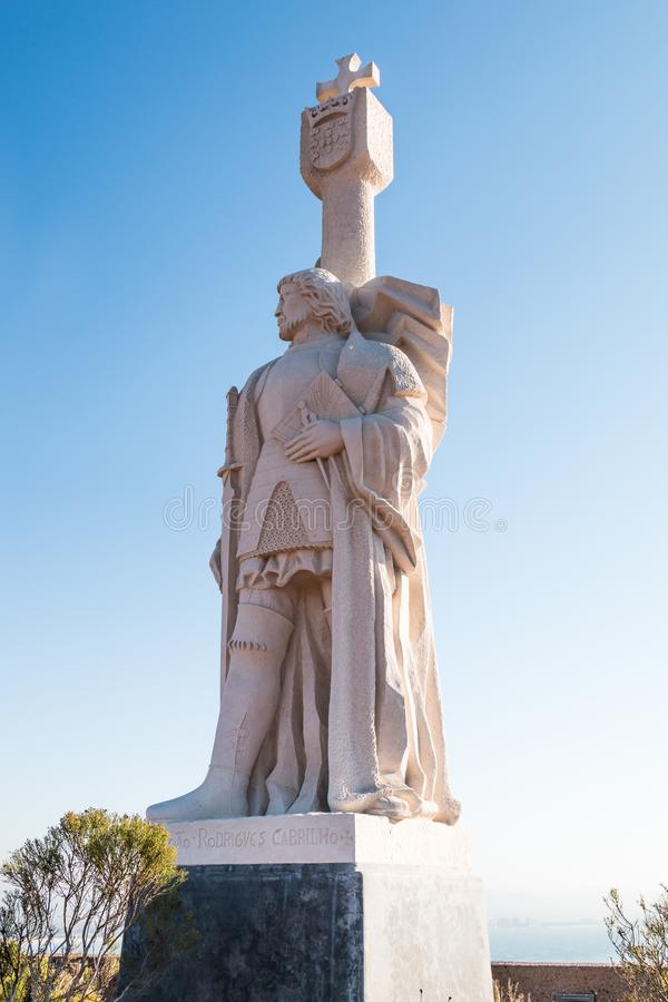 Statue of Juan Rodriguez Cabrillo by Sculptor Alvaro de Bree. POINT LOMA, CALIFORNIA - DECEMBER 19, 2017: Statue of Captain Juan Rodriguez Cabrillo by sculptor royalty free stock images