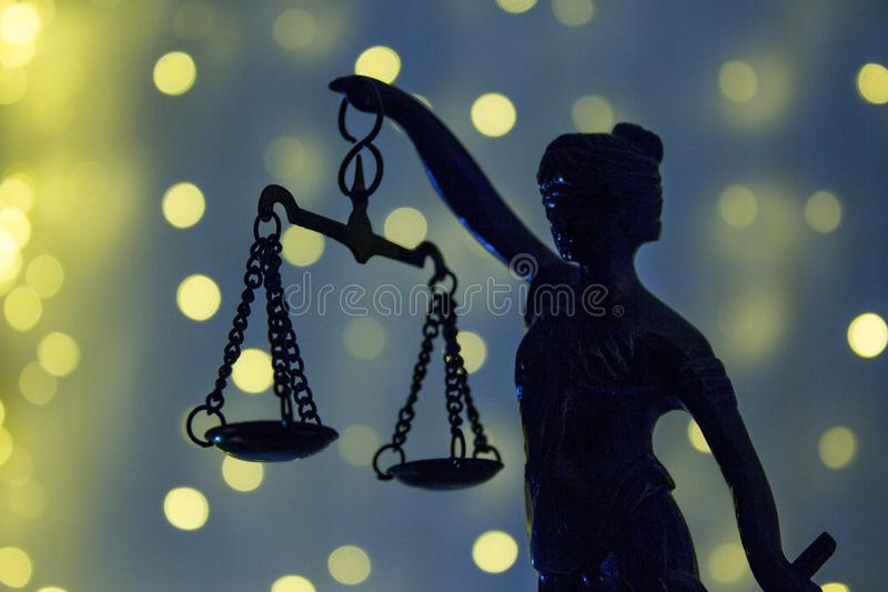 The Statue of Justic. Lady justice or Iustitia. Justitia the Rom. Justice goddess Themis. This figure has no specific author. No need model release stock photo