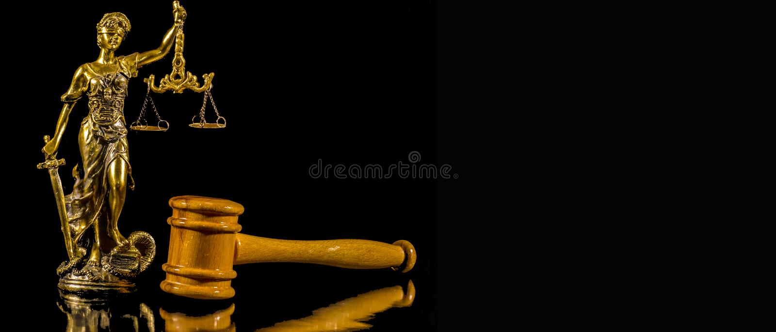 Statue of Justice and Judge`s hammer royalty free stock photography