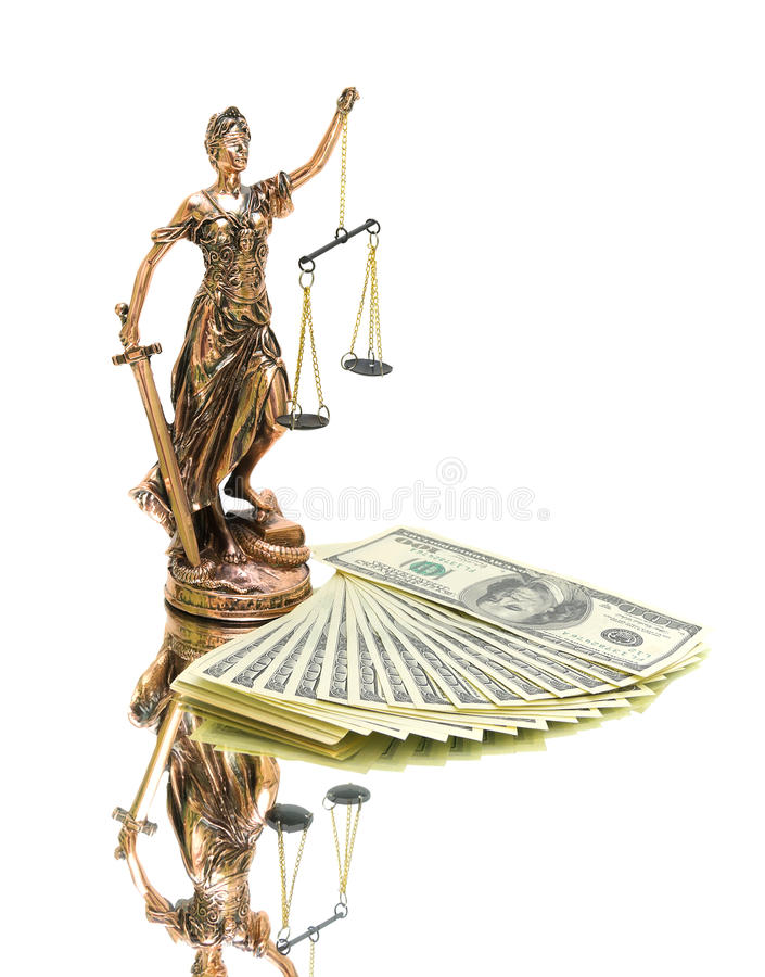 Statue of justice and money on white background. Vertical photo royalty free stock photography