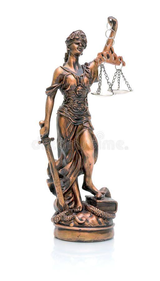 Statue of justice on a white background. Closeup with reflection royalty free stock image