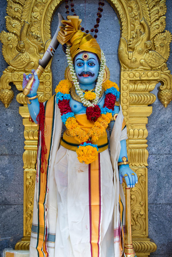 Statue of Karuppu Swamy in Sri Veeramakaliamman Temple in Singapore. Statue of Karuppu Swamy in Sri Veeramakaliamman Temple in Little India, Singapore royalty free stock photo