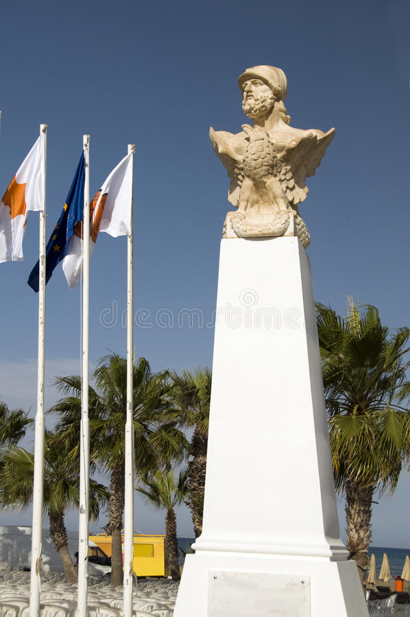 Statue Kimon la promenade athénienne Larnaca Chypre images libres de droits