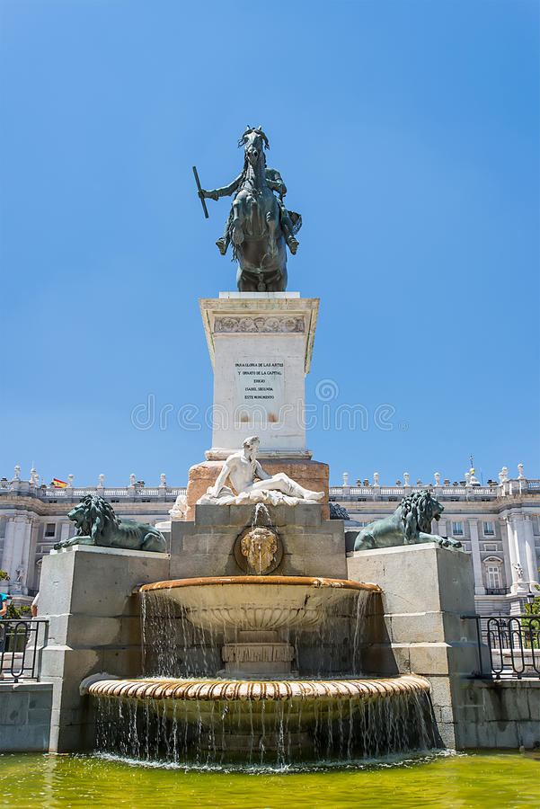 Statue of King. Park in front of Royal Palace, Madrid, Spain royalty free stock photos