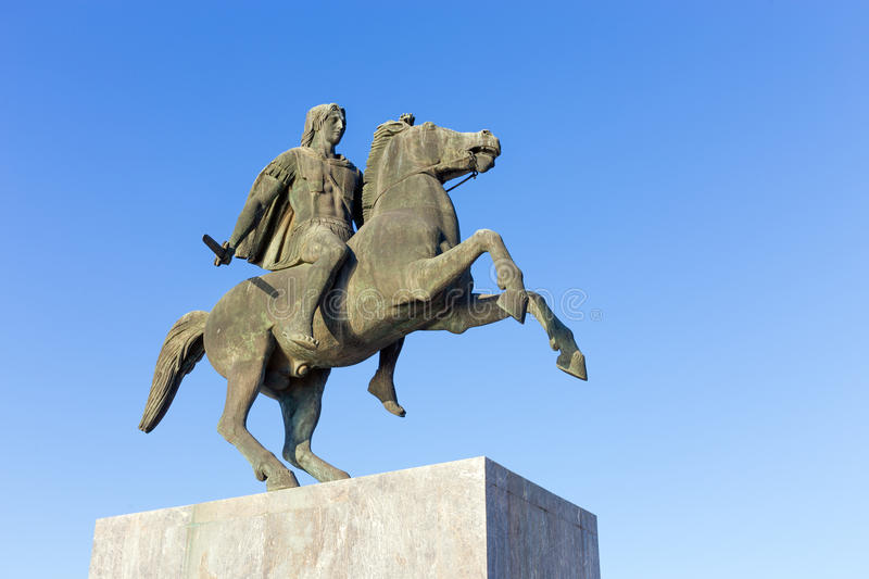 Statue of King Alexander the Great in Thessaloniki, Greece stock photo